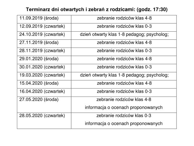 Terminarz 2019/2020